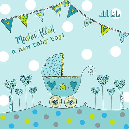 Masha'Allah Baby Boy - Blue Pram BB 01