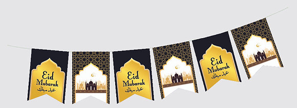 Eid Mubarak Party Flags (Black & Gold)