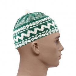 HAJI WOVEN PRAYER HAT - GREEN & WHITE