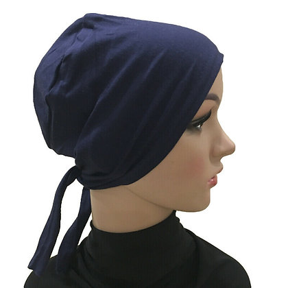 Plain Navy Tie On Bonnet
