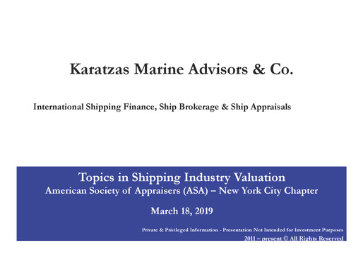 Topics in Shipping Industry Valuation