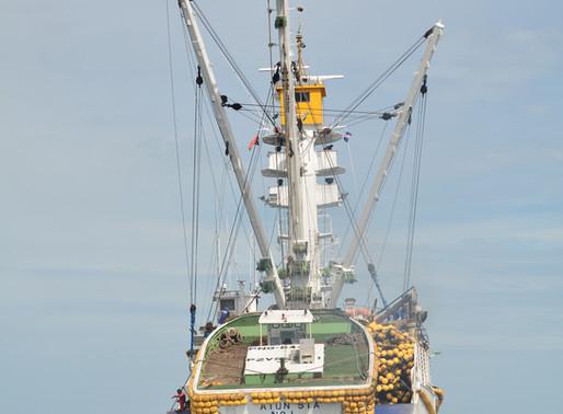 Images of Pelagic Purse Seiner Tuna Fishing Vessel FV 'Atun Sta' Departing the Majuro Lagoon