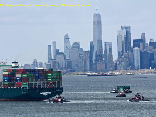 Inland Marine Assets in New York Harbor, photographed with Statue of Liberty and World Trade Center