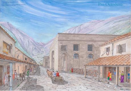 La Rue principale vers 100 après J.-C.  Aquarelle de Camille Ançay. © Fondation Pro Octoduro