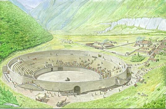 L'amphithéâtre, vers 100 après J.-C. Aquarelle de Camille Ançay, © Fondation Pro Octoduro