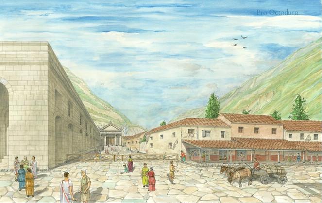 Le temple classique vu de la Rue Principale, vers 100 après J.-C. A gauche, le forum. Aquarelle de Camille Ançay, © Fondation Pro Octoduro