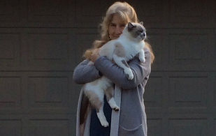 Caroline Burnside with her cat.