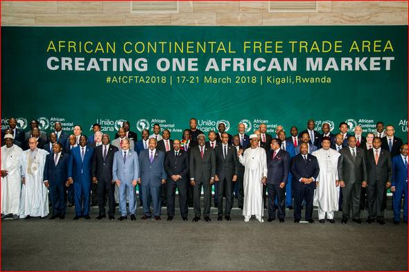 Les chefs d'Etat et de gouvernement de l'UA au sommet extraordinaire de Kigali en mars 2018