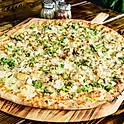 Broccoli Chicken Alfredo white pizza