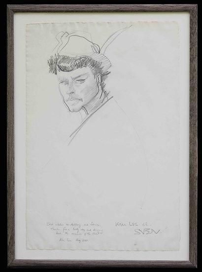 Sven Berlin   Portrait of Ken Lee in feathered cap