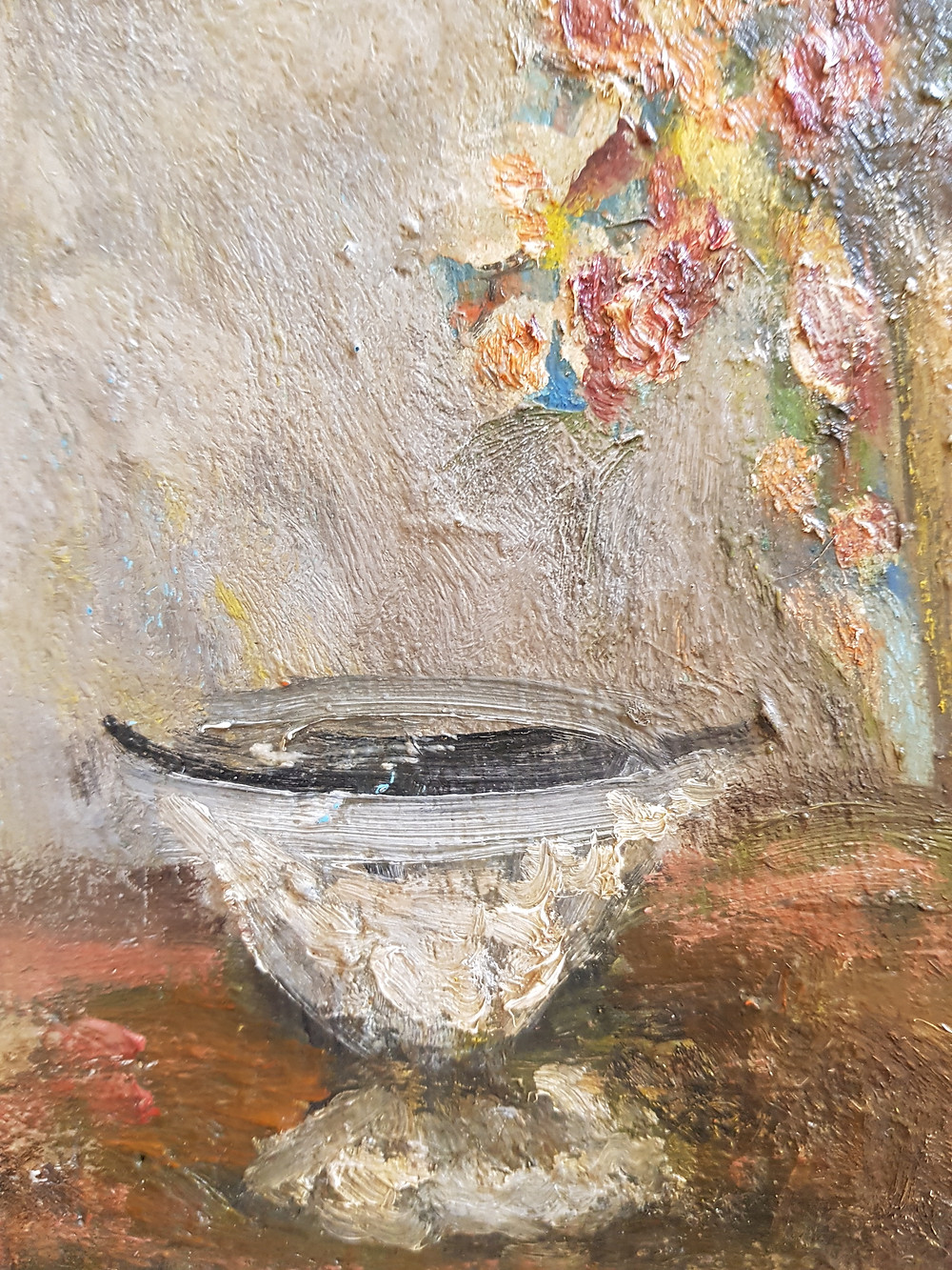Detail from Mary Jewels oil painting Flowers in an Earthenware Bowl