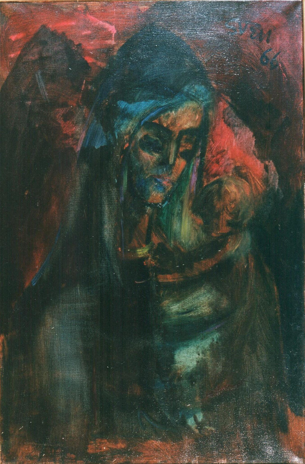 Sven Berlin oil painting of Gypsy Mother and Child. One of the New Forest Shave Green Gypsies.