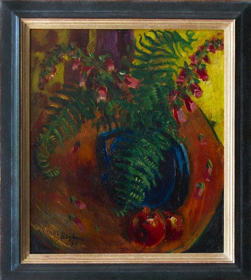 Sven Berlin Fern and Apples oil painting framed 1955