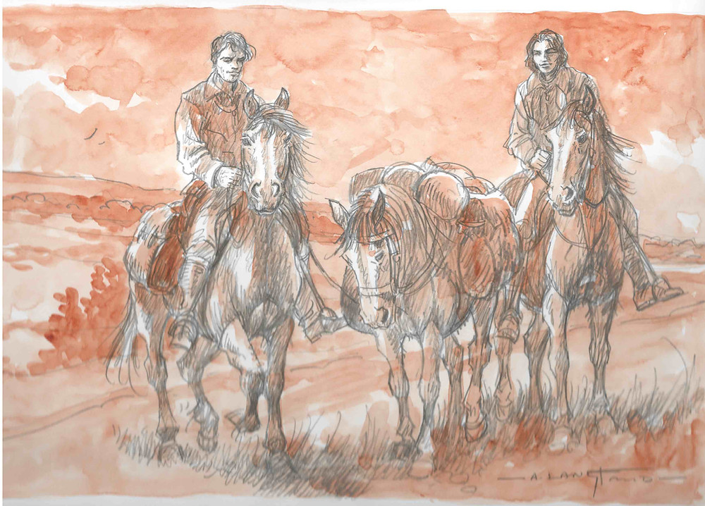 Illustrating Take Three Ponies, Christopher Charman's account of a pony trek in 1958 from Godshill New Forest to Wales.