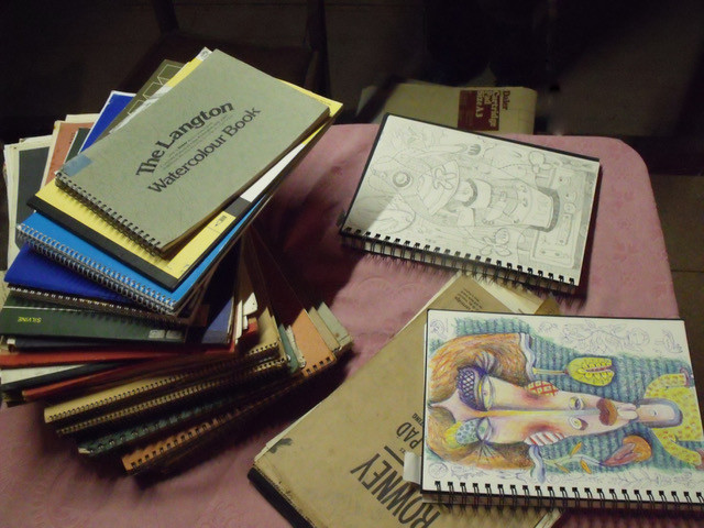 Notebooks by the artist Rod Hague