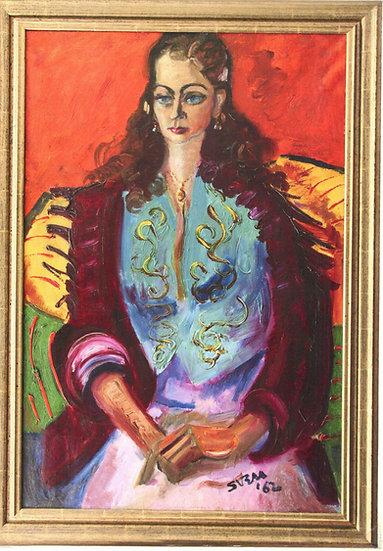 Sven Berlin Spanish Romany (Greta) oil painting 1962 framed