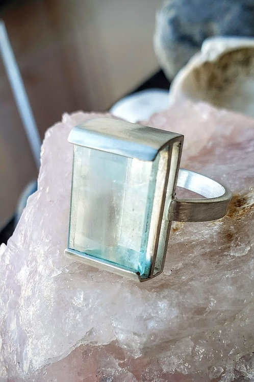 Oversized Mirror Cut Aquamarine