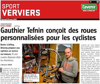 Gauthier Tefnin Amaruq Wheels journal l'Avenir