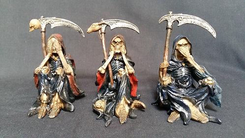 Grim Reaper Set.  See no evil, hear no evil, speak no evil.