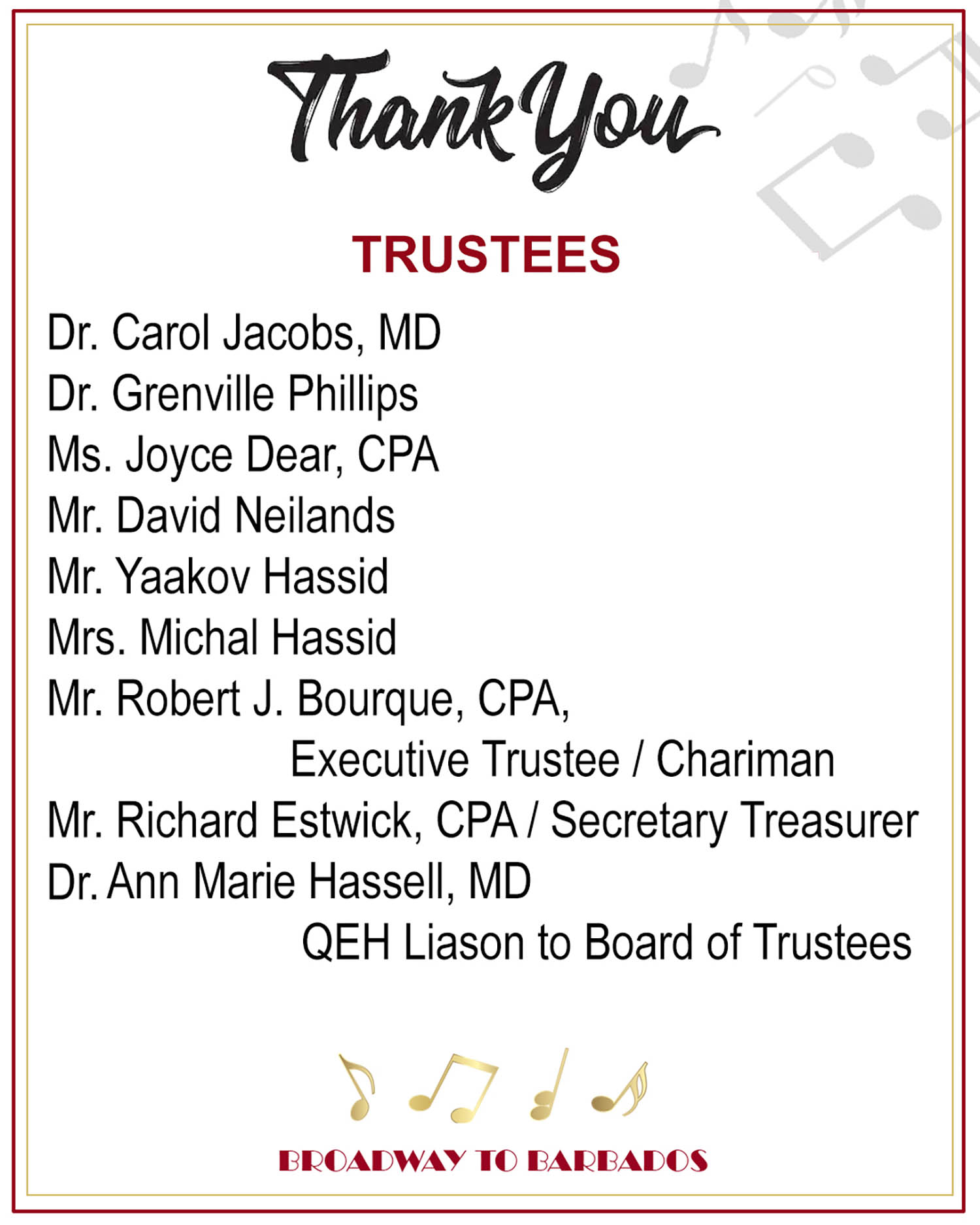 thank you trustees