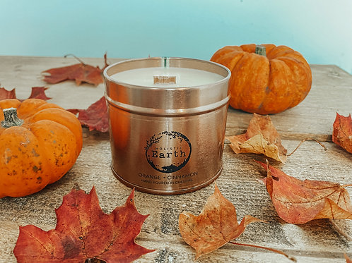 Orange & Cinnamon Scented Tin Candle