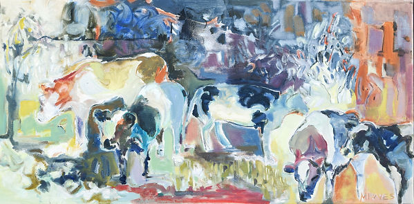 Cows in field, abstract oil painting, oil on canvas