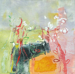 Hedgerow, contemporary oil monoprint
