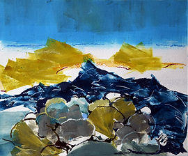 Beach, boulders, Scotland, oil monoprint