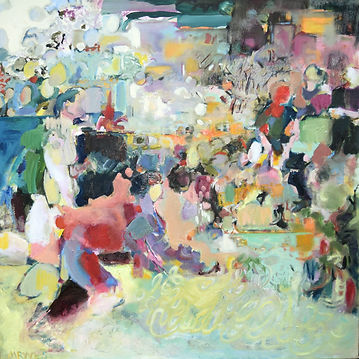 Hockey, abstract oil painting, Perthshire