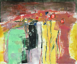 Poppies, field, contemporary oil monoprint