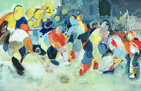 Movement and colour, hockey,oil painting, 48x30 inches, perthshire