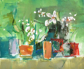 Green pots, oil monoprint