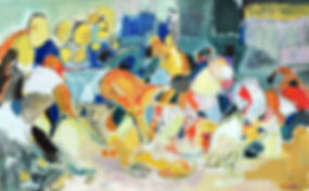 Hockey players, ol on pper, cntemporary scottish, 120x75 cm.