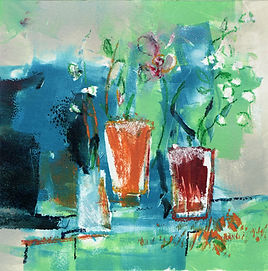 Plants and pots, contemporary oil monoprint