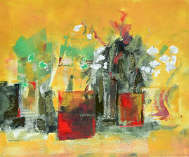 Yellow pots. oil monoprint