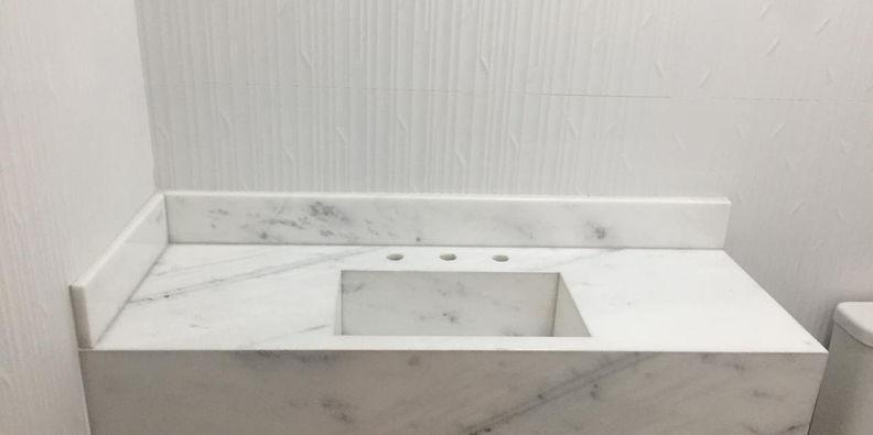 Lavatório Mármore Branco Espírito Pinta Cinza