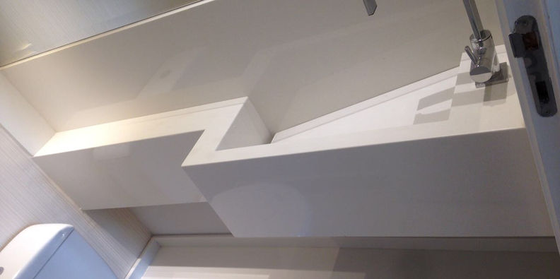 Lavatório e Prateleira Branco Prime