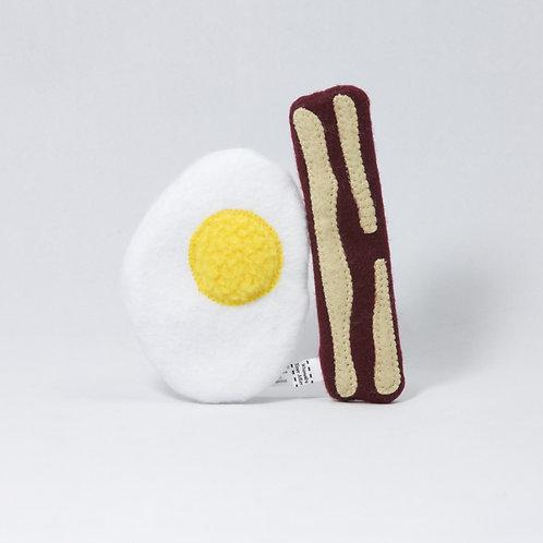 Bacon & Egg Cat Toys - Organic Catnip, Silvervine & Crinkle