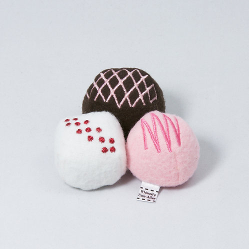 "Kitty Truffles - Set of 3 - Organic Catnip ""Romantic Pink Color Combo"""