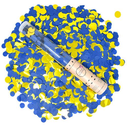 BLUE / GOLD Round Confetti Cannons