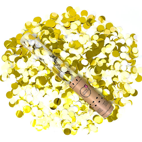 WHITE / GOLD Round Confetti Cannons