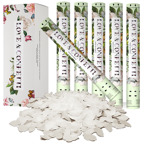 White Butterfly Biodegradable confetti cannons