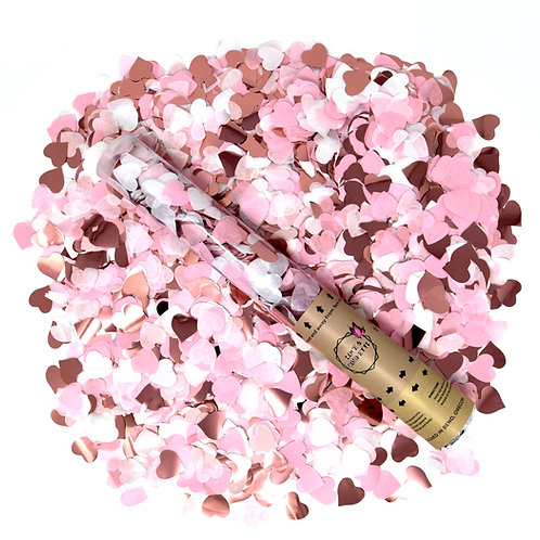 ROSE GOLD / PINK / WHITE Heart Confetti Cannons