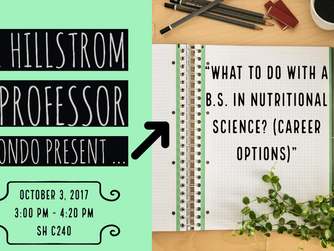 """Meeting Reminder: """"What to do with a B.S. in Nutritional Science? (Career Options)"""""""