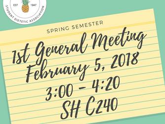 Reminder: 1st SDA Meeting of Spring 2018