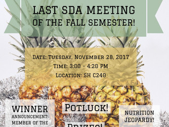 End of the Semester Potluck + Nutrition Trivia + Member of the Semester Announcement