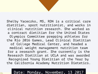 Meeting Reminder: Sports Nutrition featuring Shelby Yaceczko