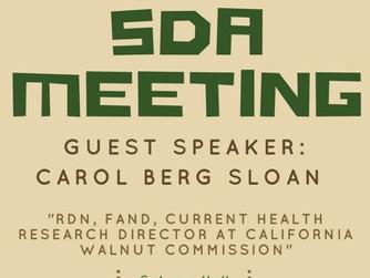 Reminder: SDA Meeting with Carol Berg Sloan