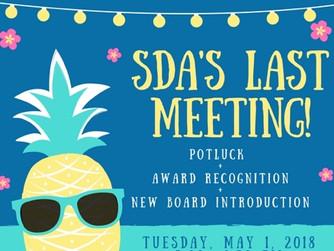 Reminder: Last SDA Meeting of Spring 2018
