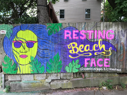 Resting Beach Face Fence Mural 2019 Collaboration with Yenny Hernandez